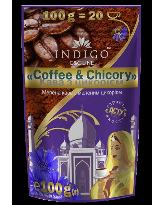 Кофе жареный молотый с цикорием жареным молотым ТМ INDIGO 100г